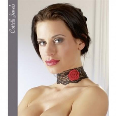 Cottelli Jewels - krajková ozdoba na krk s růží