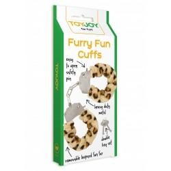 ToyJoy Pouta na ruce Furry cuffs - leopardí