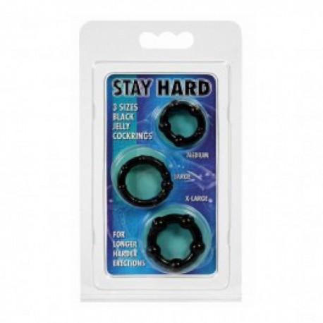 Sada tří erekčních kroužků Stay Hard black