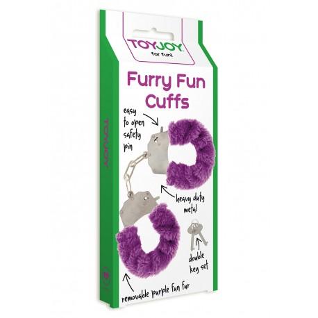 Pouta na ruce Shot Toys Furry cuffs -fialová