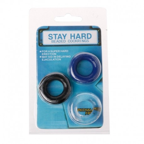 Stay Hard Beaded Cockrings-Sada tří kroužků