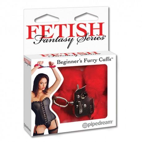 Fetish Fantasy Series Pouta Beginner's Furry Cuffs- červená