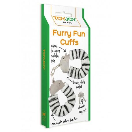 Pouta ToyJoy Furry Cuffs- zebrované